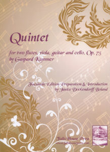 Kummer Quintet Op. 75 for two flutes, viola, guitar and cello