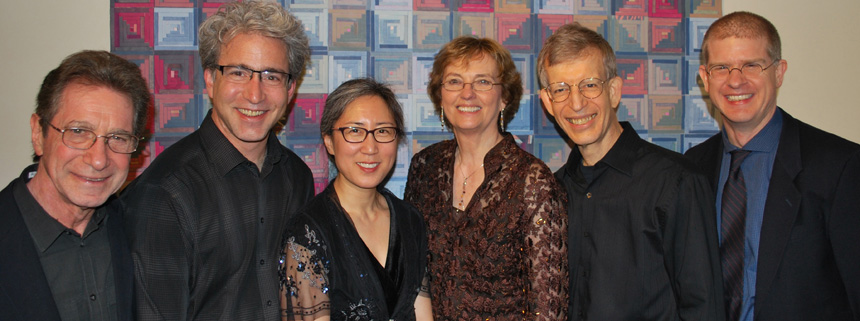 Stephen Cohn (composer), Carey Bostian (cello), Miera Kim (violin), Jan Boland (flute), John Dowdall (guitar), Philip Wharton (composer). Photo by Amy Hunzelman.