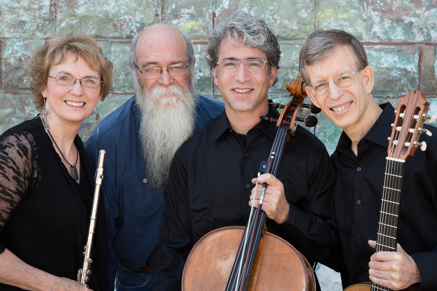 The Red Cedar Trio members Jan Boland (flute), Carey Bostian (cello) and John Dowdall (guitar) with Michael Zahs